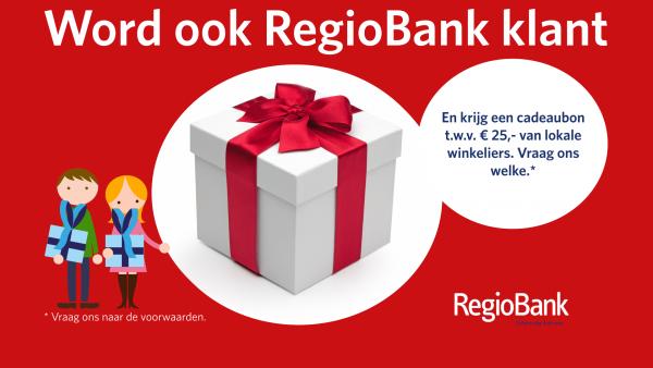 Cadeaubon van 25 EURO. Word ook RegioBank klant